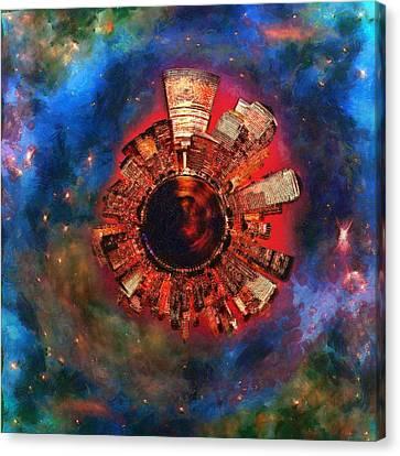 Night Sky Canvas Print - Wee Manhattan Planet - Artist Rendition by Nikki Marie Smith