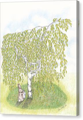 Weeping Birch Canvas Print by Elaine Read-Cole