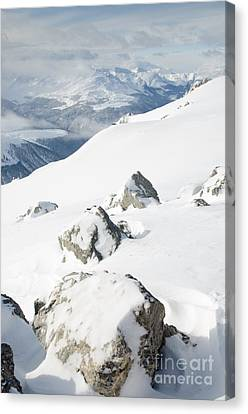 Weissfluhgipfel Summit P View From Summit In Winter Canvas Print by Andy Smy