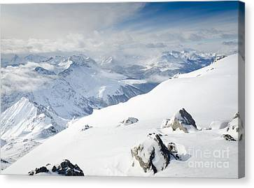 Weissfluhgipfel Summit View From The Summit Across Davos Canvas Print by Andy Smy