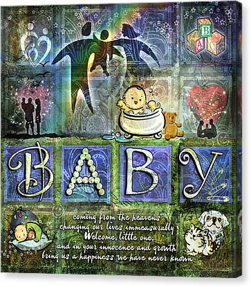 Welcome Baby Boy Canvas Print by Evie Cook