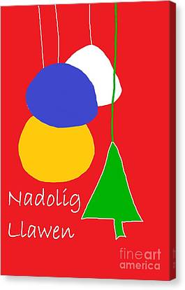 Canvas Print featuring the digital art Welsh Christmas Card by Barbara Moignard