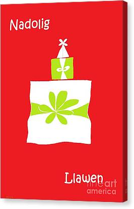 Welsh Merry Christmas Red Canvas Print by Barbara Moignard