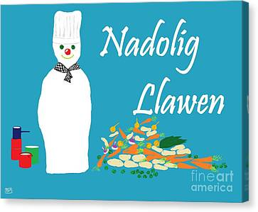 Welsh Snowman Chef Canvas Print by Barbara Moignard