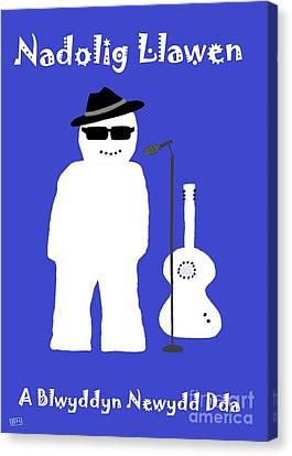 Welsh Snowman Musician Canvas Print by Barbara Moignard