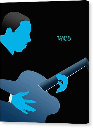 Wes Montgomery Blue Canvas Print by Victor Bailey