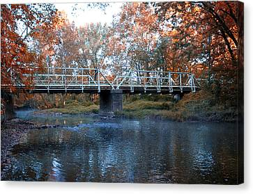 West Valley Green Road Bridge Along The Wissahickon Creek Canvas Print by Bill Cannon
