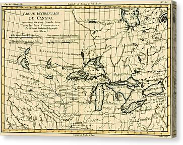 Western Canada And The Five Great Lakes Canvas Print by Guillaume Raynal