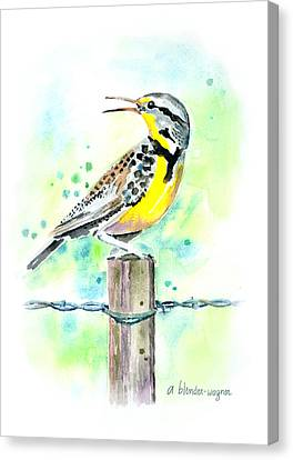 Meadowlark Canvas Print - Western Meadowlark by Arline Wagner