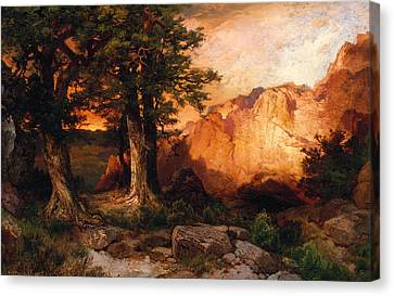 Western Sunset Canvas Print by Thomas Moran