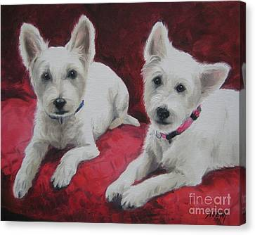 Canvas Print featuring the painting Westies by Jindra Noewi