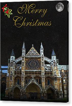 Westminster Abbey Merry Christmas Canvas Print