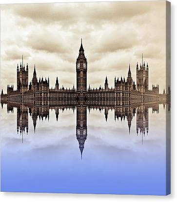 Westminster On Water Canvas Print by Sharon Lisa Clarke