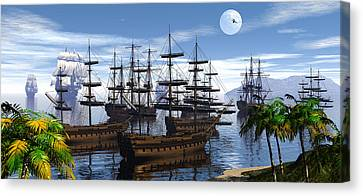 Whaling Off Lahaina 2 Canvas Print