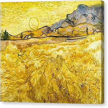 Wheat Field With Reaper And Sun Canvas Print by Vincent Van Gogh