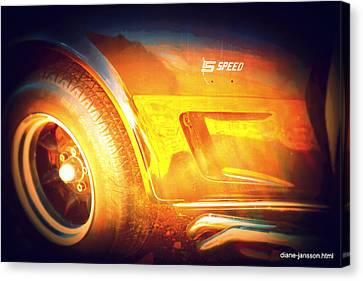 Wheel On Fire Canvas Print by Diane montana Jansson