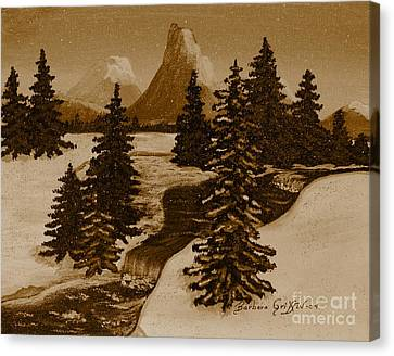 When It Snowed In The Mountains Canvas Print by Barbara Griffin