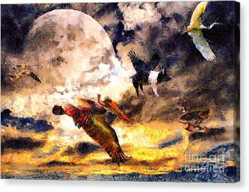 When Pigs Fly 2 Canvas Print by Wingsdomain Art and Photography