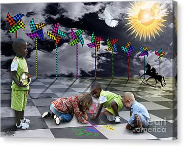 Canvas Print featuring the digital art Where Do The Children Play? by Rosa Cobos