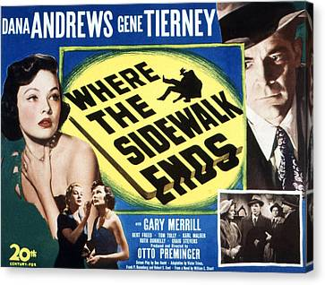Where The Sidewalk Ends, Gene Tierney Canvas Print by Everett