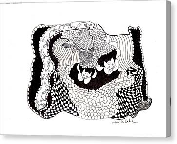 Canvas Print featuring the drawing Where'd They Go? by Lou Belcher
