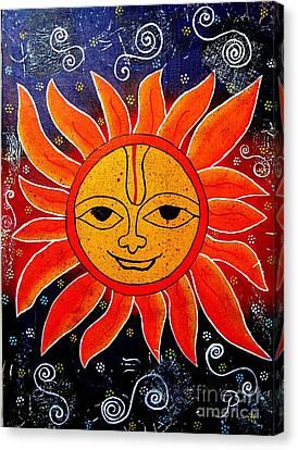 Whimsical Painting-whimsical Sun God Canvas Print by Priyanka Rastogi