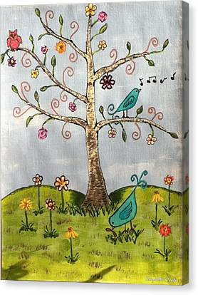 Canvas Print featuring the painting Whimsical Tree by Elizabeth Coats