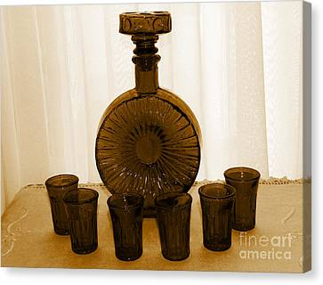 Whiskey Decanter In Sepia Canvas Print by Barbara Griffin