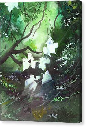 Blue Begonia Canvas Print - White Begonia by Anil Nene