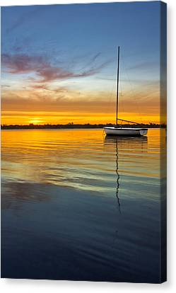 White Boat Canvas Print by Debra and Dave Vanderlaan