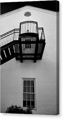 White Building And Stairs Canvas Print by Steven Ainsworth