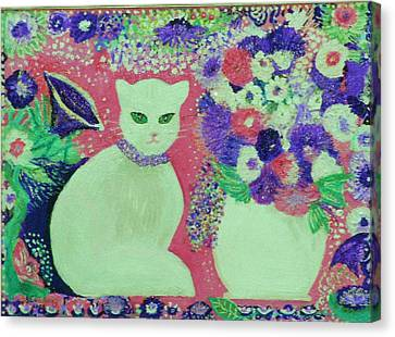 White Cat With Flowers All Around Canvas Print by Anne-Elizabeth Whiteway