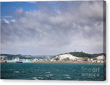 White Cliffs Of Dover And Port Entrance, England Canvas Print