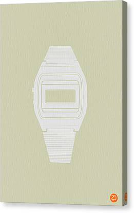 White Electronic Watch Canvas Print by Naxart Studio