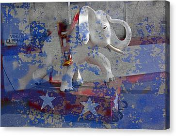 White Elephant Ride Abstract Canvas Print by Garry Gay