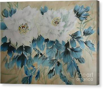 Canvas Print featuring the painting White Flower by Dongling Sun