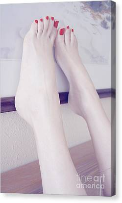 White Girl Bare Foot Canvas Print by Tos Photos
