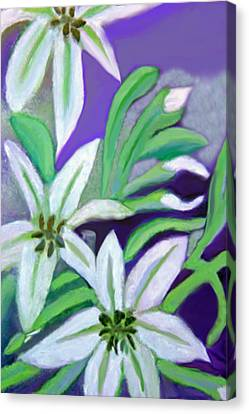 Canvas Print featuring the painting White Lilies by Margaret Harmon