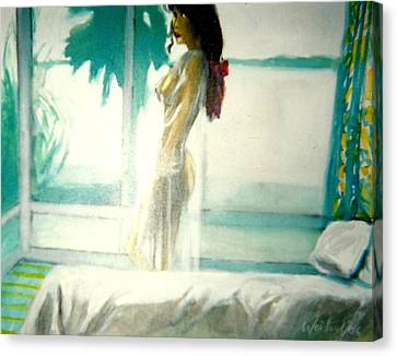 White Negligee Palm Tree Canvas Print by Harry WEISBURD