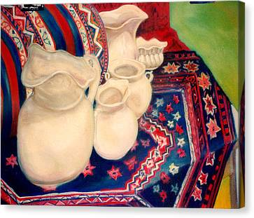 White Pitchers Canvas Print by Eliezer Sobel
