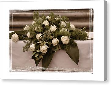 White Roses For The Wedding Canvas Print by Mary Machare