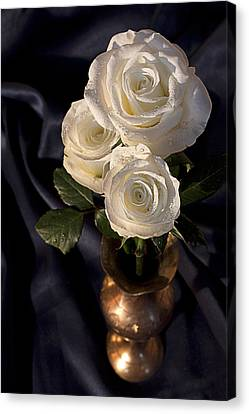 Canvas Print featuring the photograph White Roses by Shirley Mitchell