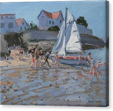 White Sailboat Canvas Print by Andrew Macara