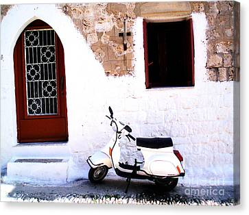 White Scooter Dreams Horizontal Canvas Print by Anthony Novembre