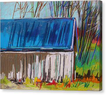 White Slatted Barn Canvas Print by John Williams