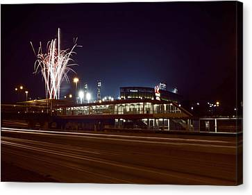 White Sox Homer Fireworks Canvas Print by Sven Brogren