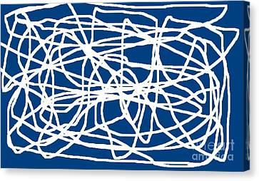 Jordan Canvas Print - White Strings On Navy Blue by Jeannie Atwater Jordan Allen