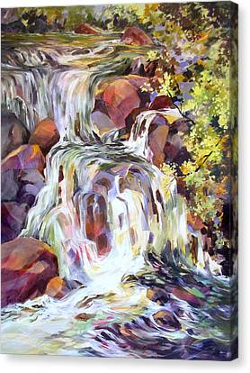 Canvas Print featuring the painting White Water Tumble by Rae Andrews