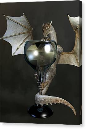 Tasting Canvas Print - White Wine Dragon by Daniel Eskridge