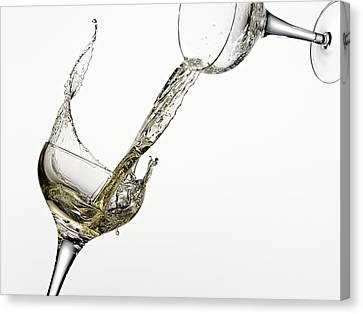 Pouring Wine Canvas Print - White Wine Pouring From One Glass Into Another by Andy Roberts